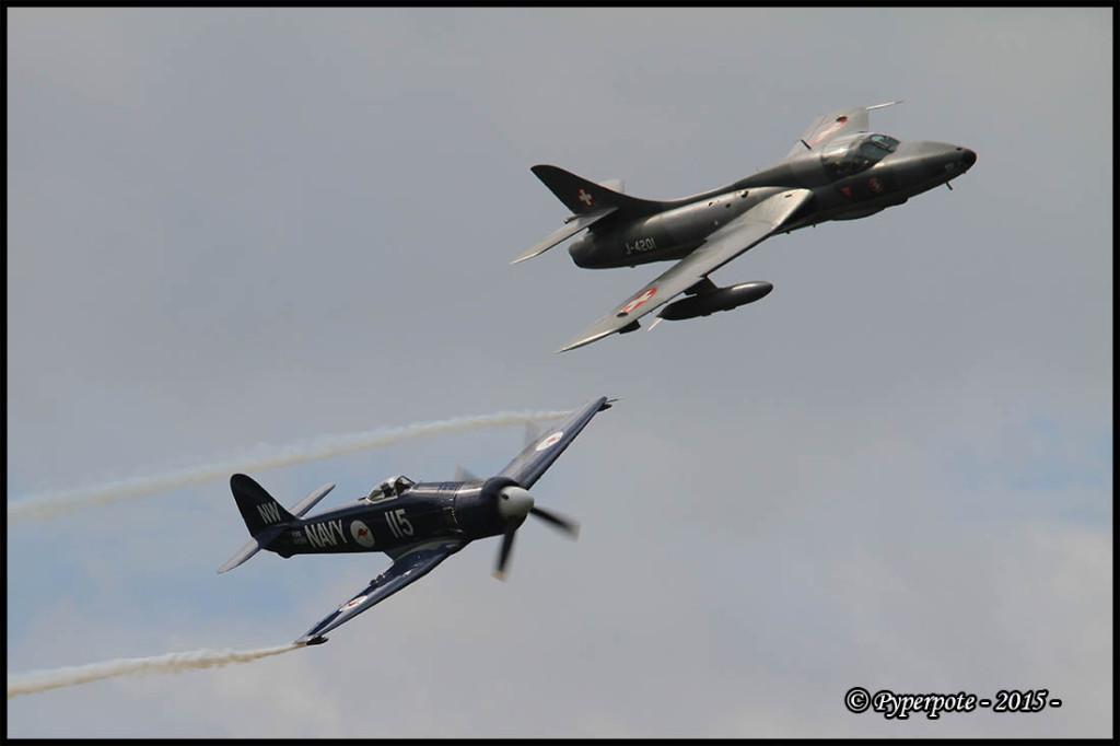 Hawker Sea Fury F-AZXJ et Hawker hunter T Mk68 J-4201 HB-RVR