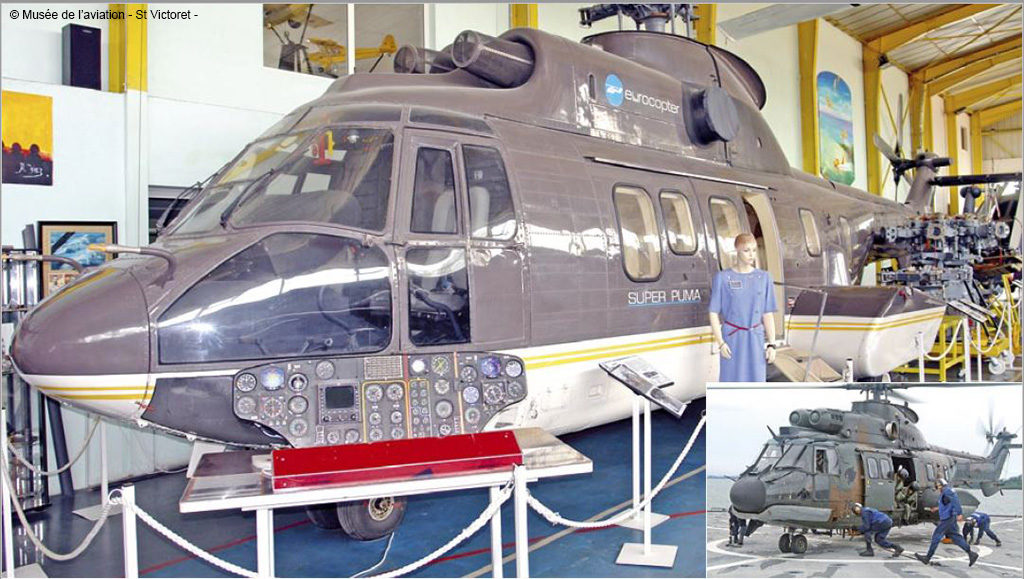 Musée de l'Aviation de Saint-Victoret, Sud Aviation. SA 332 L2 Super Puma maquette VIP issue du 332 C n° 001 F-WZJA après crash.1978 - 1980